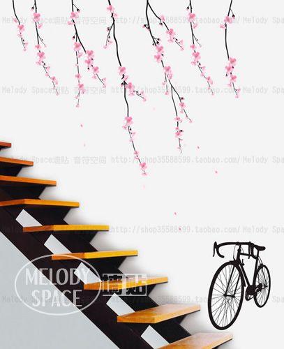 Vrijgesteld verzendkosten romantische kersenbloesem fiets kinderen slaapkamer muur stickers diy home