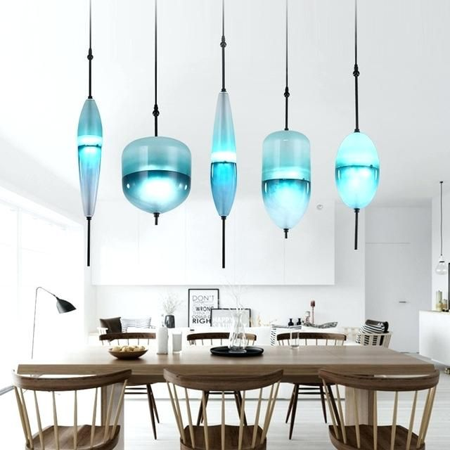 Cool Blue Pendant Light Fixtures Modern Led Pendant Lights Glass