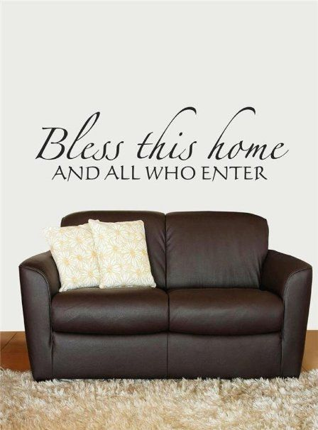 Design with Vinyl Design 183 Bless this Home, and All Who Enter Welcome Sign Inspirational Scripture Bible Quote Vinyl Wall Decal, Black