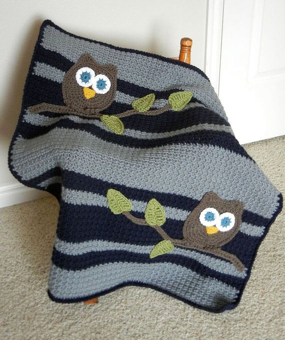Owl Baby Blanket Boy Baby Shower Gift by abbycove on Etsy, 90.00 - I love all the different colour combos