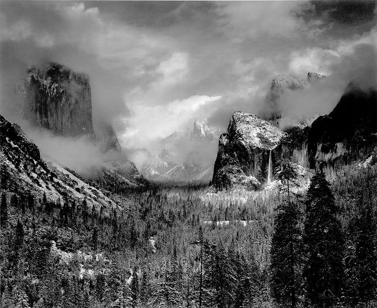 Yosemite - Valley clearing winterstorm - 1942 © Ansel ADAMS