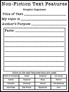Help students learn about the features of nonfiction and compare those features to fictional texts that they are more familiar with.  They fill out this sheet each time they read a nonfiction story and it helps them see trends in nonfiction.