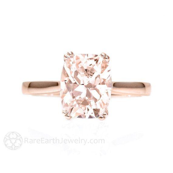 Puro de oro rosa anillo cojín grande doble diente solitario