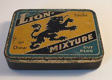 Rare Early LION Smoking or Chew Tobacco Tin