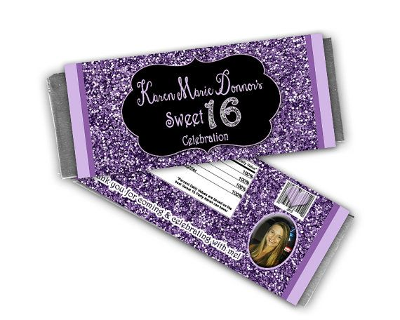 Get these great purple glitter & chalkboard themed candy bar wrappers! Impress your guests or decorate your tables with these beautiful candy wrappers. Option to include your beautiful daughters photo on the back! Personalized with your information. Each wrapper tapes or glues to a standard sized candy bar, with easy assembly! High quality graphics and professionally printed on a nice glossy commercial stock, they look AWESOME on the candy bars. Tip: Wrap the bars in gold or silver foil f...