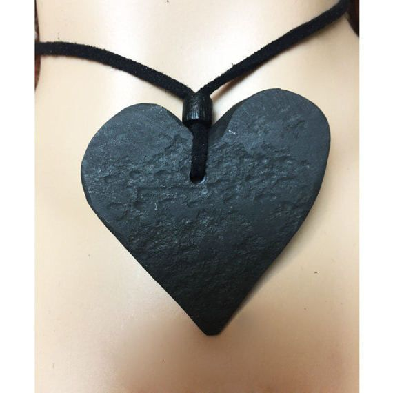 Black Stone Heart, Heart Pendant, Raw Stone Necklace, Hand Carved Heart, Slate Heart, Primitive Jewelry, Unisex Jewelry, Men Cord Necklace, Heart Chocker, Zen Jewelry, Abstract Stone Heart, Eco Artsy Jewelry   Anti-Opulent Necklace/Pendant Series - SLATE HEARTS This listing is for necklace #1  This hand carved, rustic, slate stone, pendant/necklace is unique statement piece which was sliced and semi-carved from a black slate and paired with a simple wood bead on the black leather c...