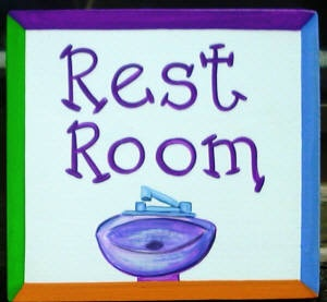 Painted Rest Room Door Plaque  Cute entry to your bathroom. Custom painted with your colors and text of your choice by Artist Jane Loedding