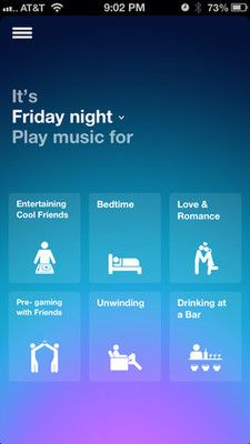 gradient on Songza #ui #design #app