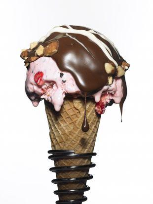 Dark-Chocolate-Dipped Cherry Ice Cream Cones