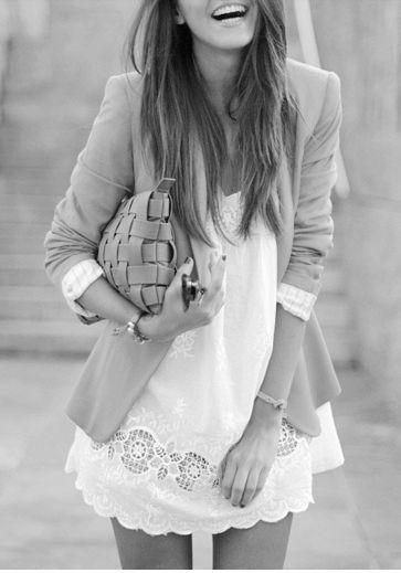 white lace dress + blazer
