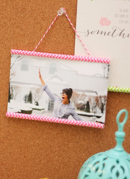 Chevron straw photo frames (and link to where you can buy these awesome party straws!)