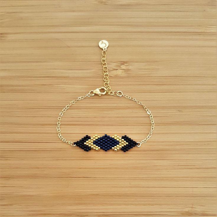 Bracelet Gaia Bleu Nuit Plaqué Or et Perles Miyuki Cousues Main : Bracelet par ccedille-bijoux