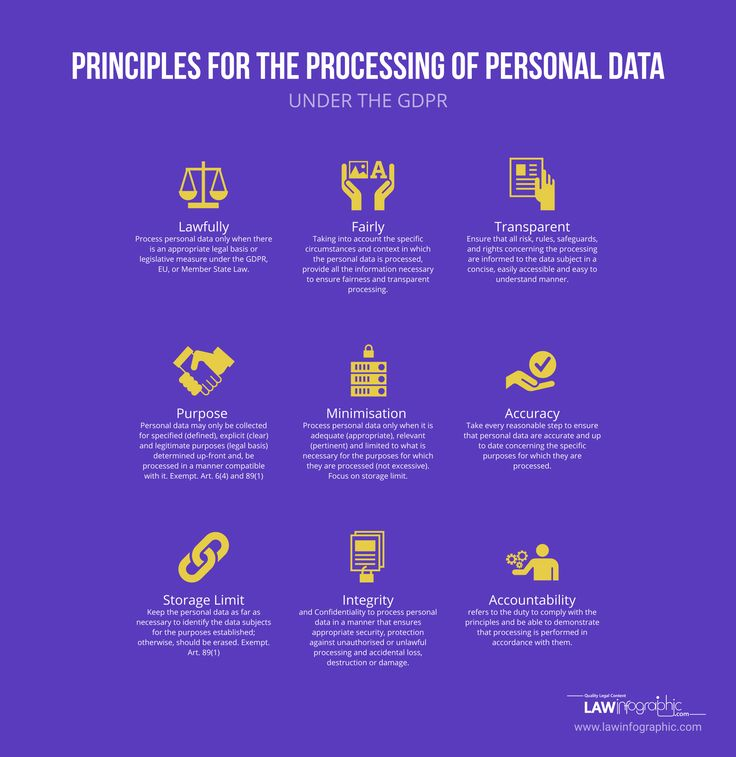 Principles for the Processing of Personal Data under the GDPR | Law Infographic