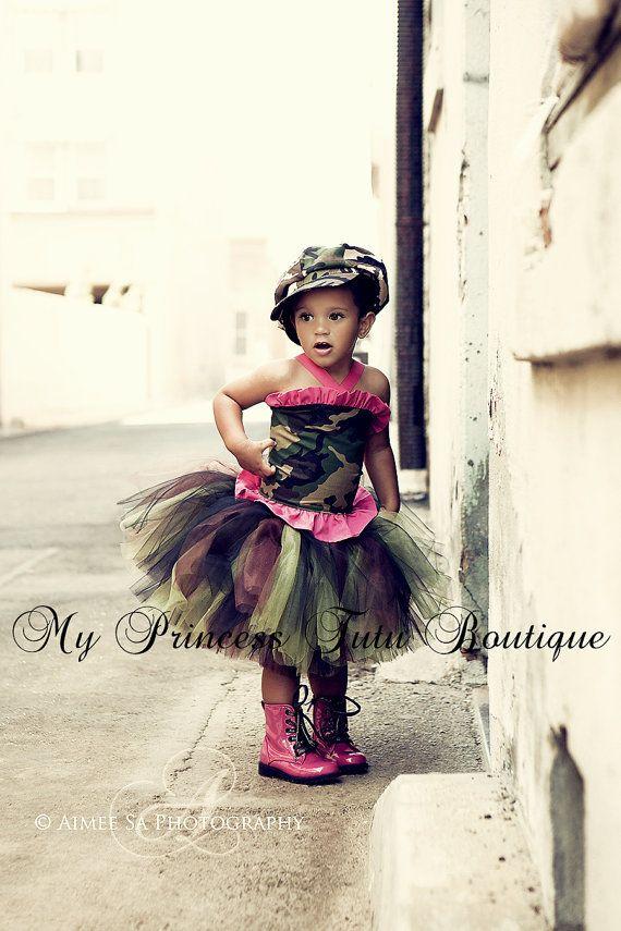 Pink/Camo Tutu Set by MyPrincessTutuBoutiq on Etsy, $72.00