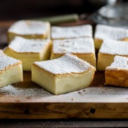 Magic Custard Cake - amazing cake that separates to 3 layers, with a custard middle.