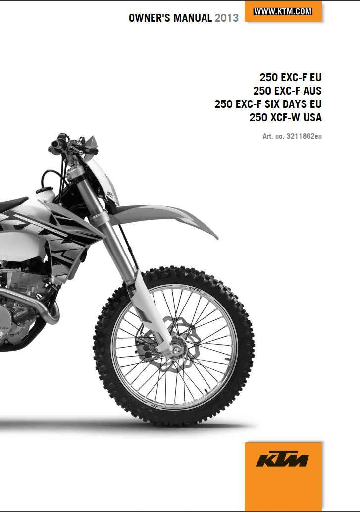 Ktm 250 Exc F Six Days 2013 Owner S Manual Has Been Published On Procarmanuals Com Https Procarmanuals Com Ktm 250 Exc F Six D Repair Manuals Ktm Ktm 250 Exc