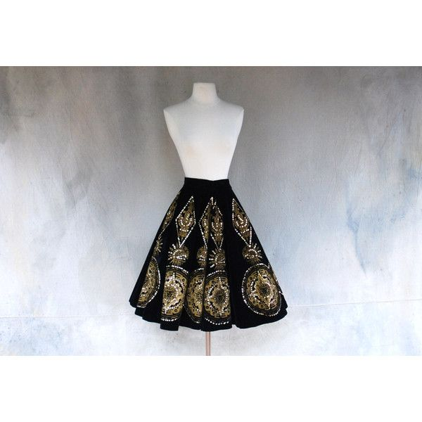 1940's vintage hand painted Mexican skirt top black and gold aztec... ($225) ❤ liked on Polyvore featuring skirts, velvet skirt, aztec sequin skirt, black and gold skirt, aztec pattern skirt and aztec print skirt