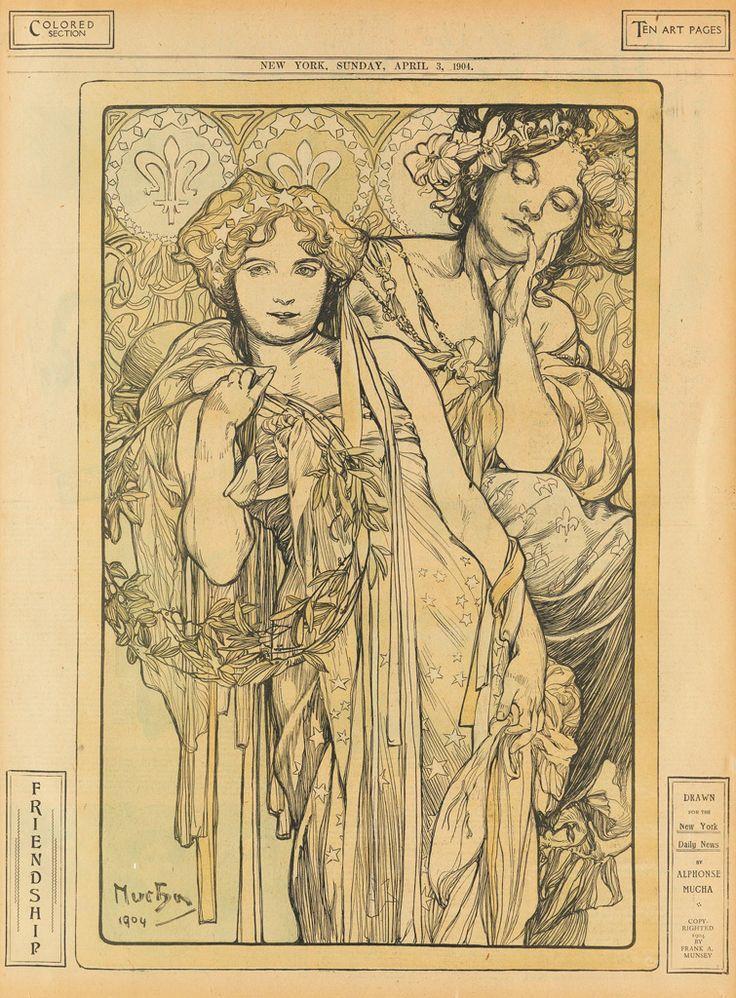 ALPHONSE MUCHA (1860-1939) FRIENDSHIP / NEW YORK DAILY NEWS. April 3, 1904.