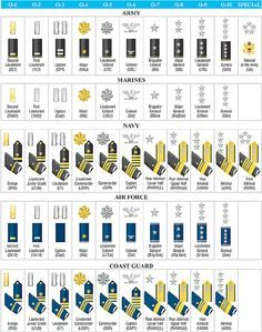 US Military Rank Structure Illustration Chart