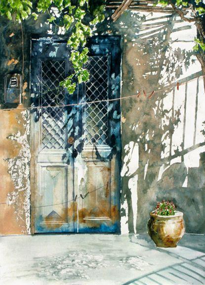 watercolor door.