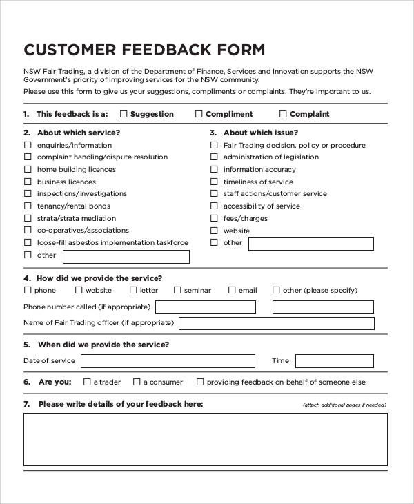 customer feedback form templates