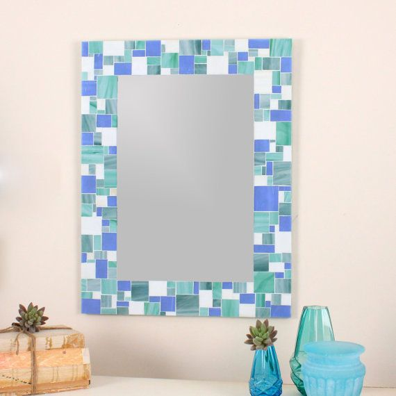 decorative mosaic bathroom wall mirror in blues sea green and white stained glass by
