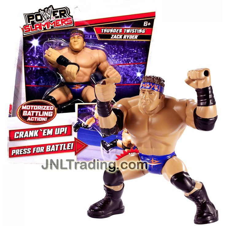 "Mattel Year 2012 WWE Power Slammers Series 4"" Tall Motorized Wrestler Battling Action Figure - Thunder Twisting ZACK RYDER (No Batteries Required)"