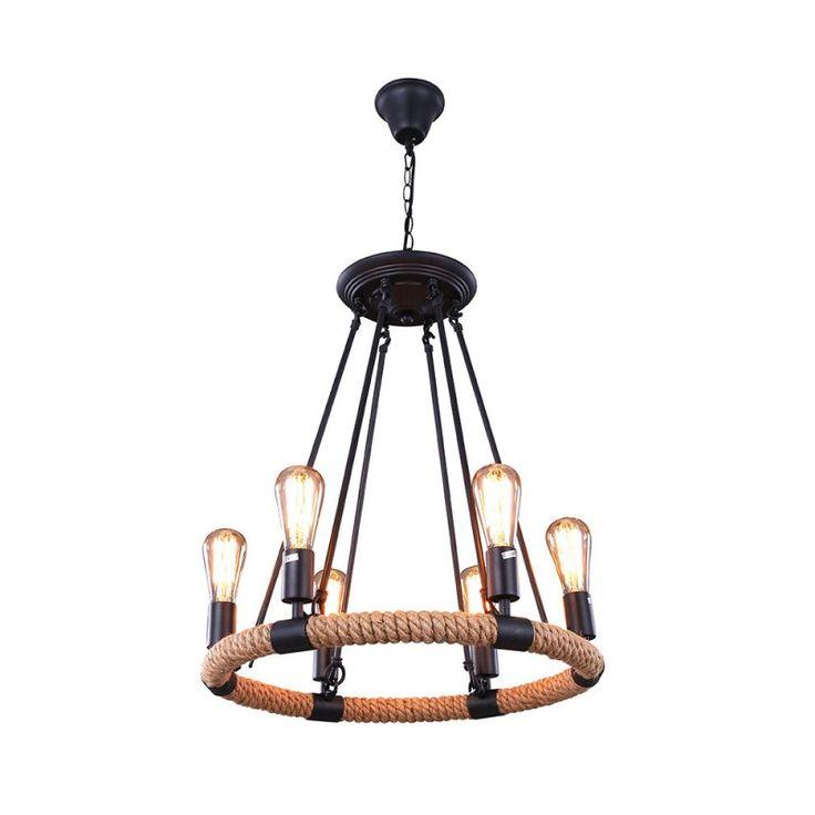 Great  Lights Rustic Style Hemp Rope Pendant Light with Matte Black Iron Hook