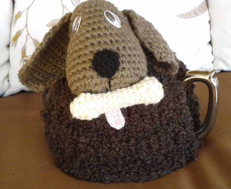 Puppy and Bone Tea Cosy - Great Range of Tea Cosies and Tissue Box Cosies all Uniquely designed by Bar-Bar-A-Black Sheep. Sheep, Goats, Cows, Elephants, Cats, - In stock or made to order in Wool, Alpaca, Acrylic or Cotton.