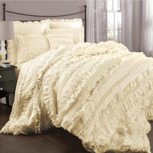 Lush Decor Belle 4 Piece Comforter Set, Queen, Ivory