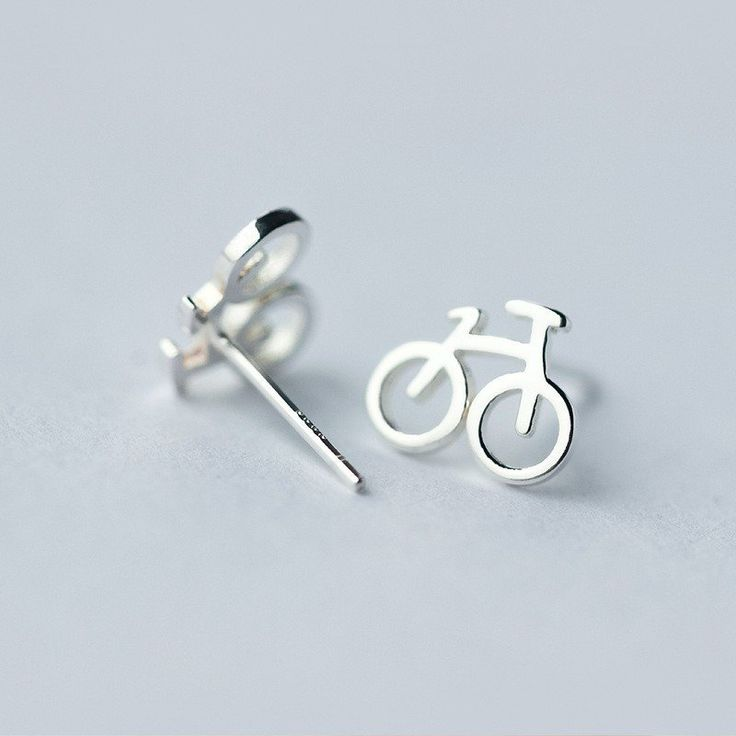 925 Sterling Silver stud bicycle earrings. FREE Shipping in USA. Allow 3…
