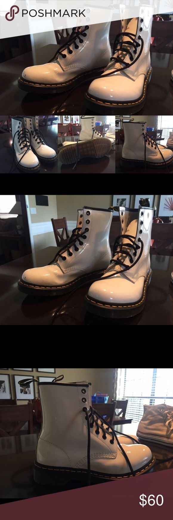 White Dr. Martin Boots - smooth leather Barely worn. A couple of scuff marks. Nothing too major. Dr. Martens Shoes Lace Up Boots