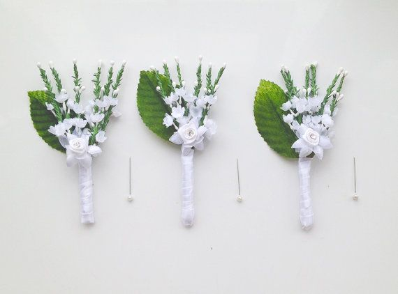 Wedding boutonniere White Rose groomsmen by WoodlandBlossoms
