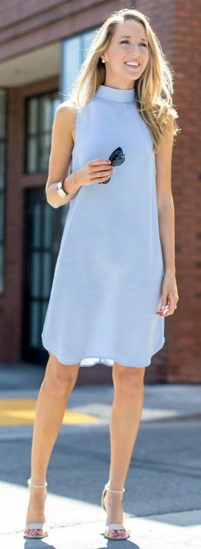 periwinkle sleeveless mock collar tunic dress, nude heeled scandals + sunglasses {topshop, dune london, stella mccartney}