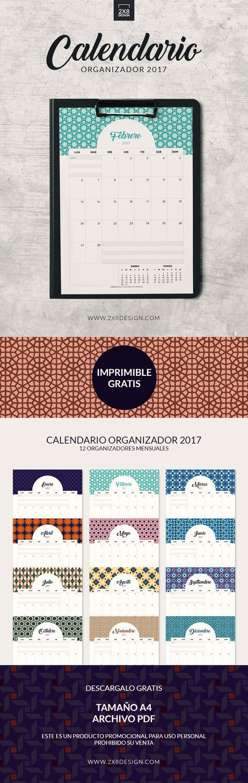 No te pierdas los calendarios organizadores 2017 - ES GRATIS! Incluye 12 calendarios mensuales A4 en archivo PDF. http://www.2x8design.com/calendario-imprimible-2017/