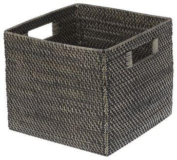 Marvelous Square Rattan Storage Basket, Black Antique Contemporary Baskets 13x13x11