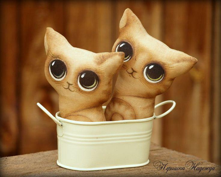 Кофейные интерьерные игрушки-котята  / Interior toy kittens #toy #art #ручнаяработа #handmade #animal