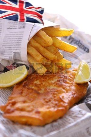Pescado y patatas fritas para ir Foto de archivo
