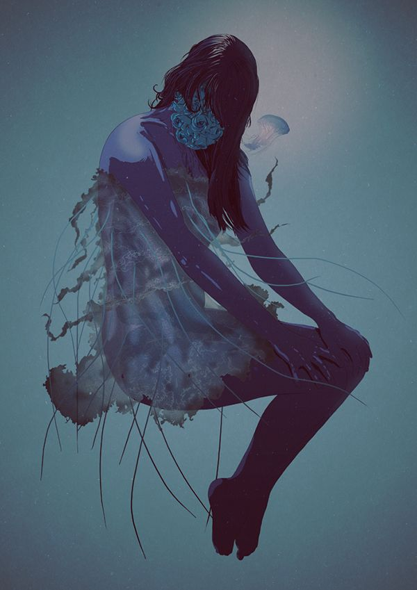 #illustration #girl #flower #jellyfish #underwater