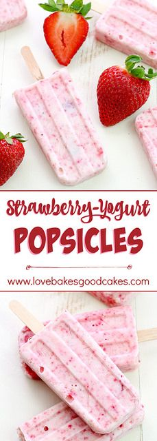 Keep cool with these Strawberry-Yogurt Popsicles - they only have 2 ingredients and they're healthy!