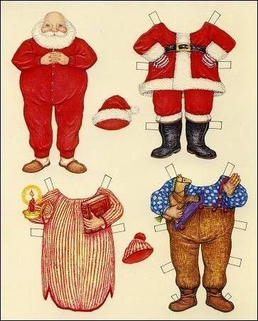 Santa paper dolls ~ free printable; Jane, this one's for you!