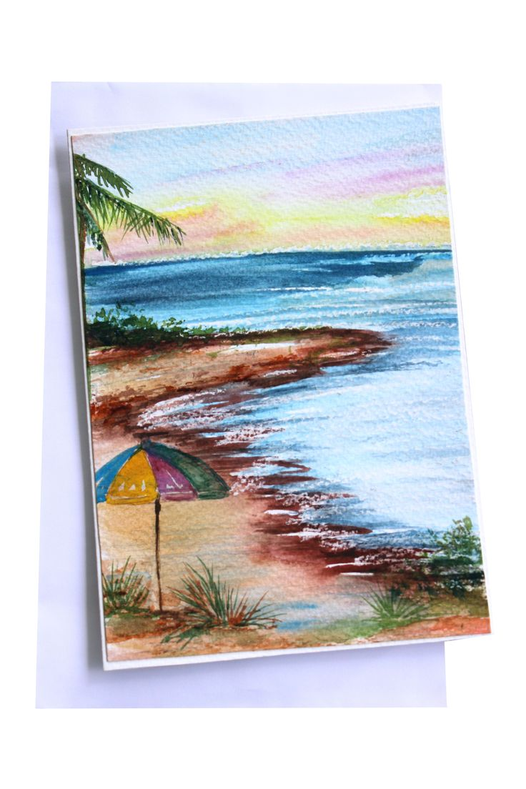 Beach Holiday Greeting Card #handmadegreeting #beach #travel #outdoors #nature #illustration #paintedcards #vacation #happyholidays #trip #stationery #sea