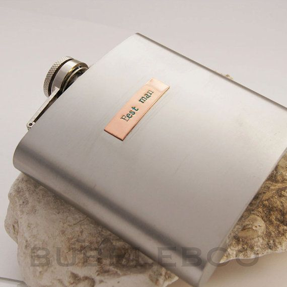 Personalised Hip Flask with hand-stamped by BubbleBooJewellery