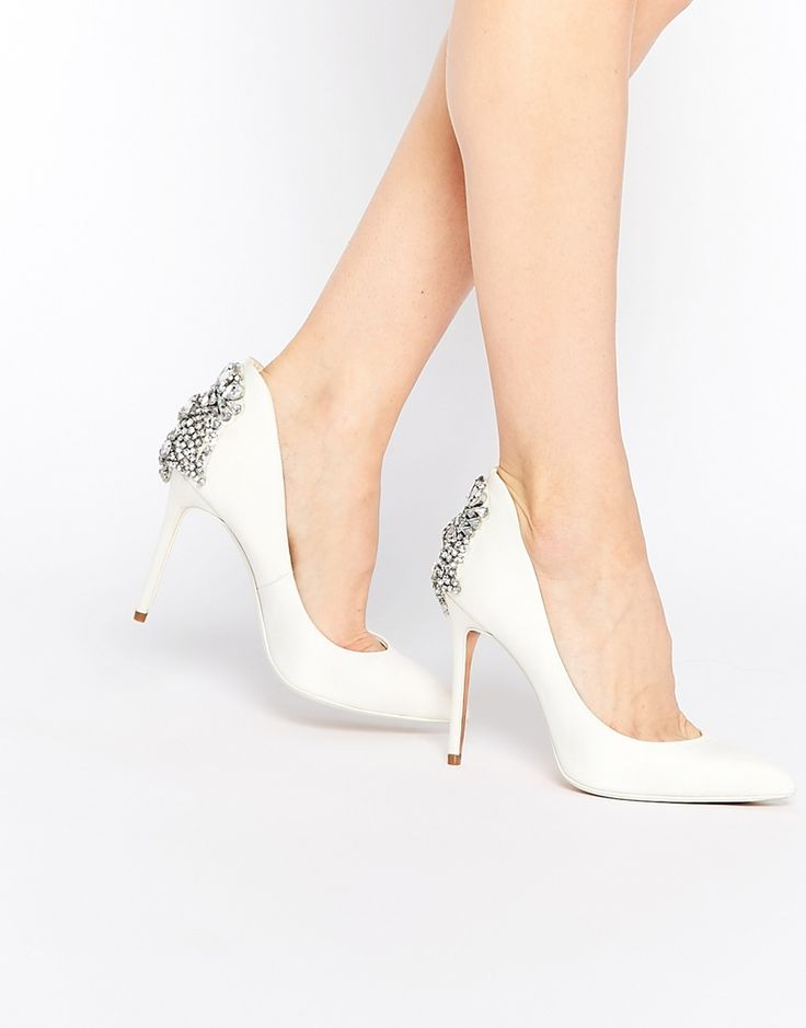 Image 1 of Ted Baker Mieon Tie The Knot Bridal Embellished Heel Leather Court Shoes