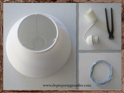 Lámpara DIY reciclando pantalla de lámpara de mesa