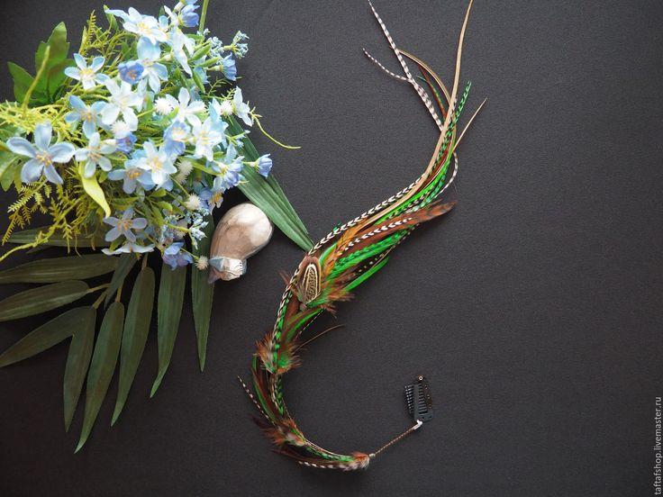 Лесная фейри - зелёные перья для волос на съемной заколке - полосатый, перо, перья