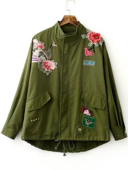 Abrigo bordado con cordón cremallera - verde militar-Spanish SheIn(Sheinside)