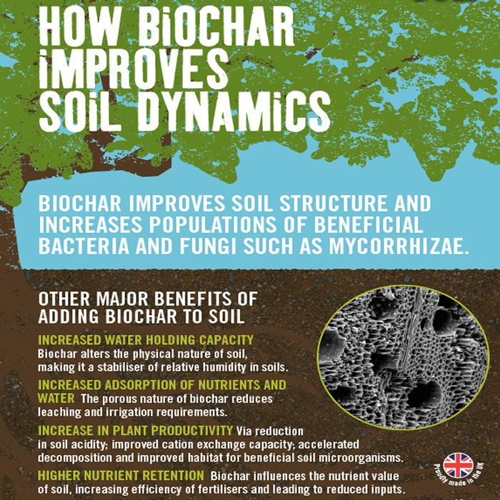 The carbon-rich biochar in Soil Association approved GroChar BioChar Concentrated Soil improver helps keep carbon in the soil for up to 50 years with only one application required - ever!... http://www.harrodhorticultural.com/carbon-gold-biochar-soil-improver-pid8396.html