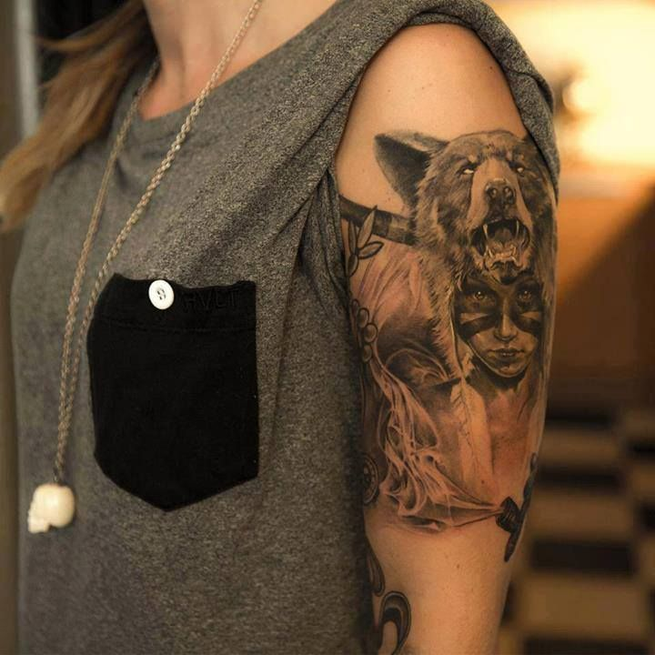 Tribal girl native american tattoo for Native american woman tattoo