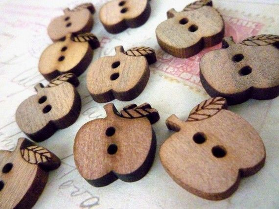 Wooden Apple Buttons  Pack of 10 by heartsupplies on Etsy, $4.00